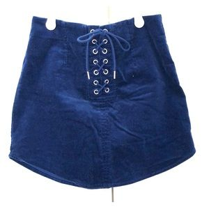 Forever 21 Blue Lace up Zip up Corduroy skirt
